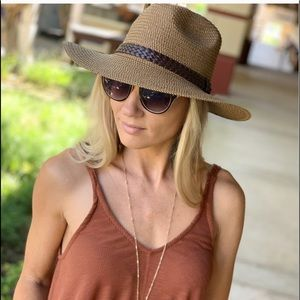 Panama Hat with Braided Vegan Leather Trim